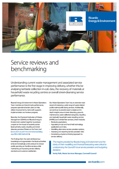 Service reviews and benchmarking capability statement